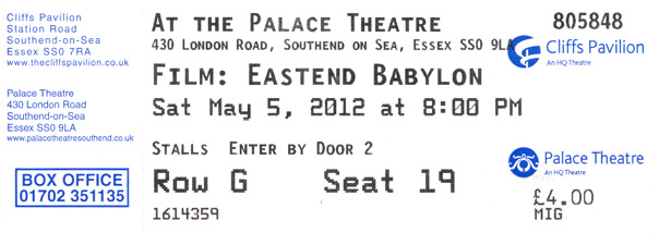 'East End Babylon - The Story of The Cockney Rejects' - Showing at The Palace Theatre, Westcliff as part of The Southend Film Festival - Saturday May 5th, 2012 - 8pm - Ticket