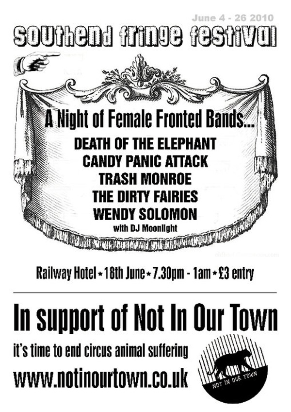 Pigtails and Army Boots / Not In Our Town (Feat. DJ Moonlight, Wendy Solomon, Death Of The Elephant, Candy Panic Attack, Trash Monroe + The Dirty Fairies) at The Railway Hotel, Southend - £3, 7:30pm