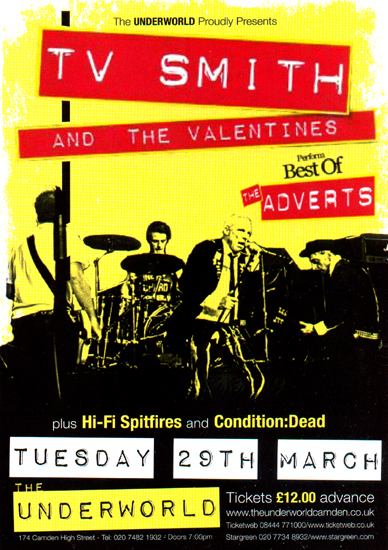 TV Smith And The Valentines Perform 'Best Of The Adverts' - Live at The Underworld, Camden, London - 29.03.11 - Advert