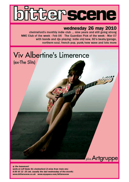 Viv Albertine's Limerence (ex-The Slits) plus Artgruppe - Live at Bitterscene on Wednesday May 26th, 2010 at The Bassment, 16 Wells Street, Chelmsford, Essex, CM1 1HZ Tel: 01245 358480