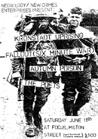 Kronstadt Uprising + Fallout (ex-Six Minute War) + Autumn Poison + The Poets - Live at The Focus Theatre - 11.06.83 -  Gig Booklet