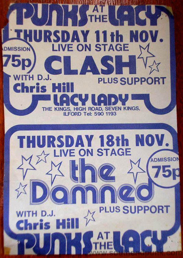 The Clash & The Damned - Live at The Lacy Lady, Ilford, UK - 1976 - Flyer