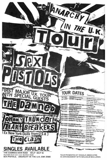Anarchy in The UK Tour 1976 - The Sex Pistols, The Clash, The Damned and Johnny Thunders and The Heartbreakers - Black and White Newspaper Advert