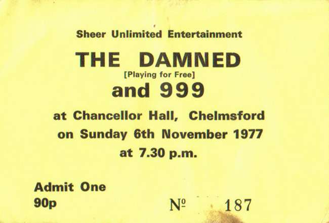 The Damned / 999 - Live at The Chancellor Hall, Chelmsford - 06.11.77 - Ticket