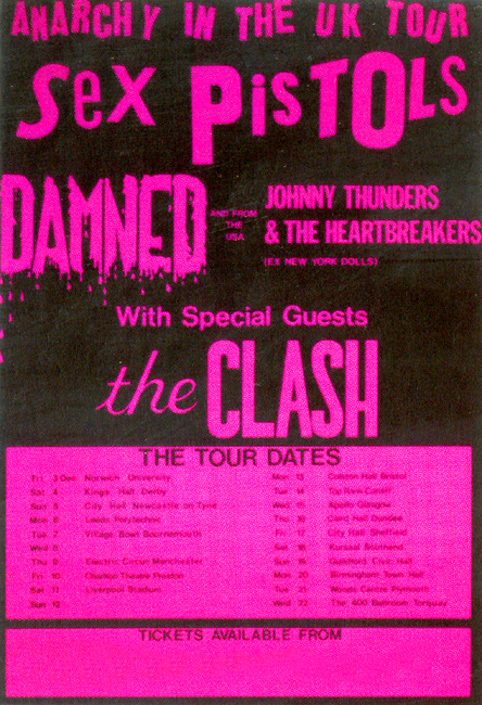 Anarchy in The UK Tour 1976 - The Sex Pistols, The Clash, The Damned and Johnny Thunders and The Heartbreakers - Colour Poster