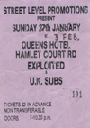 The Exploited + UK Subs - Live at The Queens Hotel - 27.01.85 (Re-Scheduled to 03.02.85) - Ticket