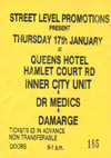 Nick Turner's Inner City Unit + Doctor & The Medics + Damarge + DJ The Dream Maker - Live at The Queens Hotel - 17.01.85 - Ticket