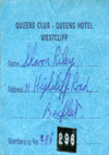 Queens Club at The Queens Hotel - Membership Card