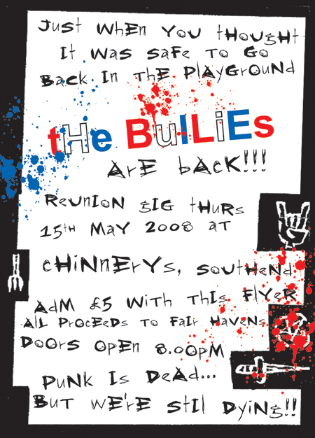 The School Bullies Reunion Gig - Chinnerys - 15.05.08 - Poster