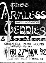 Thee Armless Teddies - Live at The Chalkwell Park Rooms - 27.11.92 - Poster