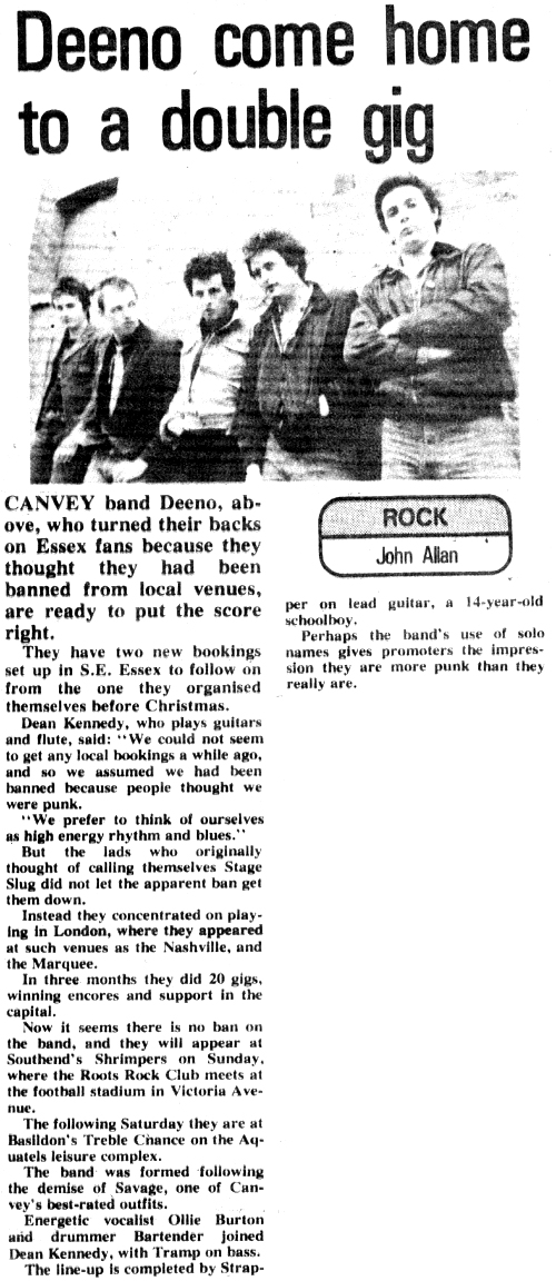 Deeno's Marvels' Feature #1 - Evening Echo, Monday January 9th, 1978