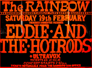 Eddie and The Hot Rods + Ultravox - Live at The Rainbow - 19.02.77 - Poster