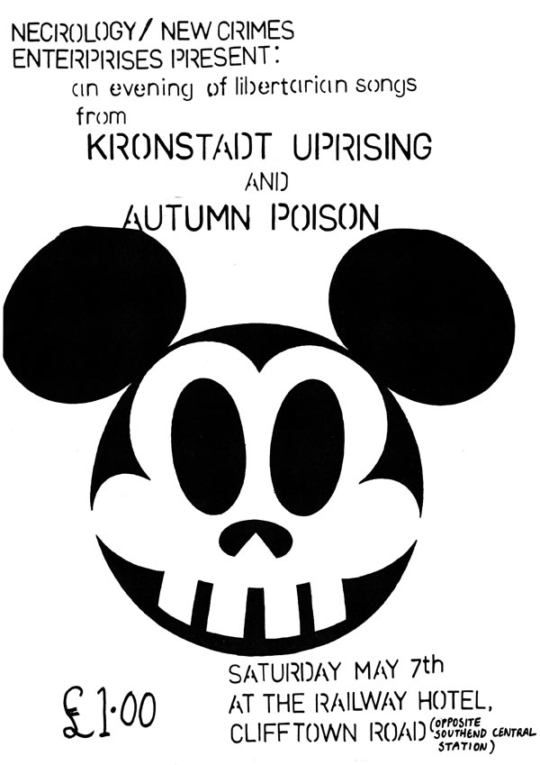 The Kronstadt Uprising + Autumn Poison + The Provisional Southend Poetry Group - Live at The Railway Hotel, Southend-on-Sea, Essex - Saturday May 7th, 1983 - Poster