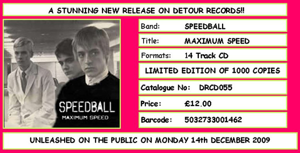'Maximum Speed' by Speedball - Album out December 14th, 2009 on Detour Records